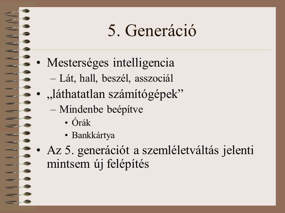 """5. Generáció Mesterséges intelligencia –Lát, hall, beszél, asszociál """"láthatatlan számítógépek"""" –Mindenbe beépítve Órák Bankkártya Az 5. generációt a"""