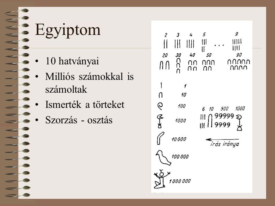 Egyiptom 10 hatványai Milliós számokkal is számoltak Ismerték a törteket Szorzás - osztás