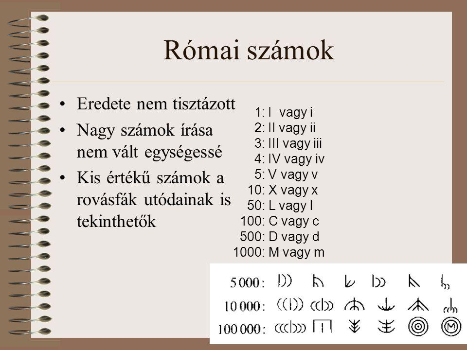 Római számok Eredete nem tisztázott Nagy számok írása nem vált egységessé Kis értékű számok a rovásfák utódainak is tekinthetők 1: I vagy i 2: II vagy