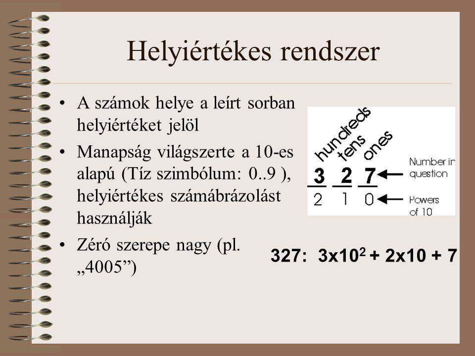 Helyiértékes rendszer A számok helye a leírt sorban helyiértéket jelöl Manapság világszerte a 10-es alapú (Tíz szimbólum: 0..9 ), helyiértékes számábr