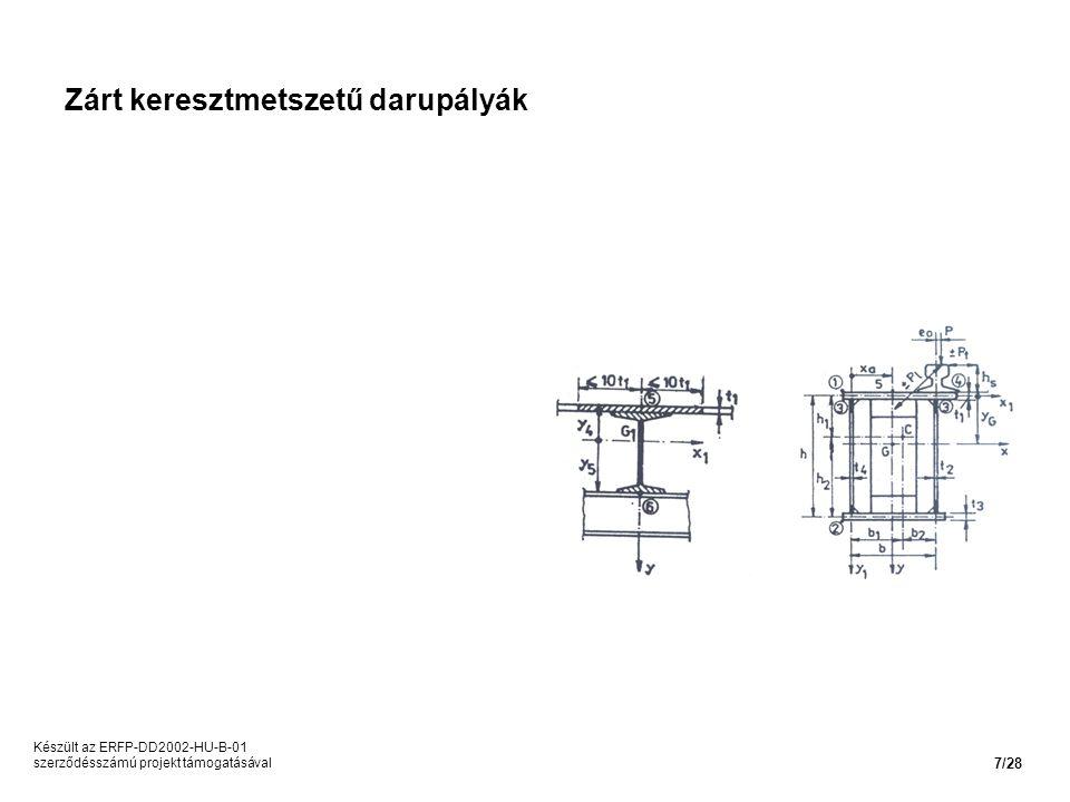 Zárt keresztmetszetű darupályák Készült az ERFP-DD2002-HU-B-01 szerződésszámú projekt támogatásával 7/28