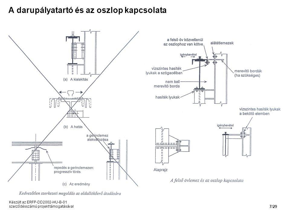 A darupályatartó és az oszlop kapcsolata Készült az ERFP-DD2002-HU-B-01 szerződésszámú projekt támogatásával 7/29