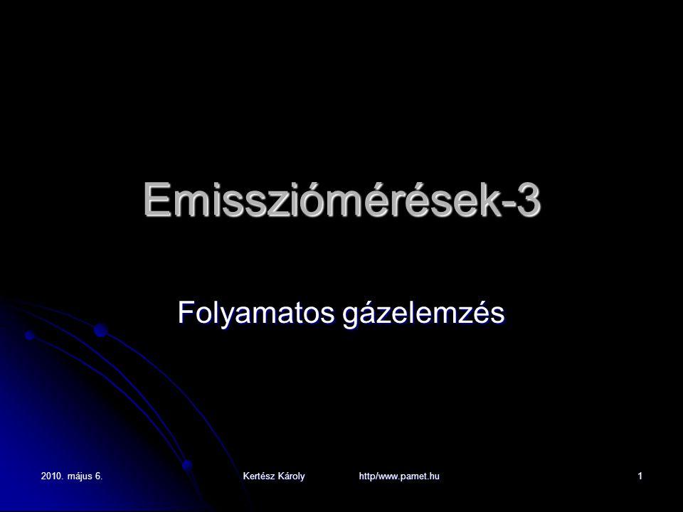 2010. május 6. Kertész Károly http/www.pamet.hu 1 Emissziómérések-3 Folyamatos gázelemzés