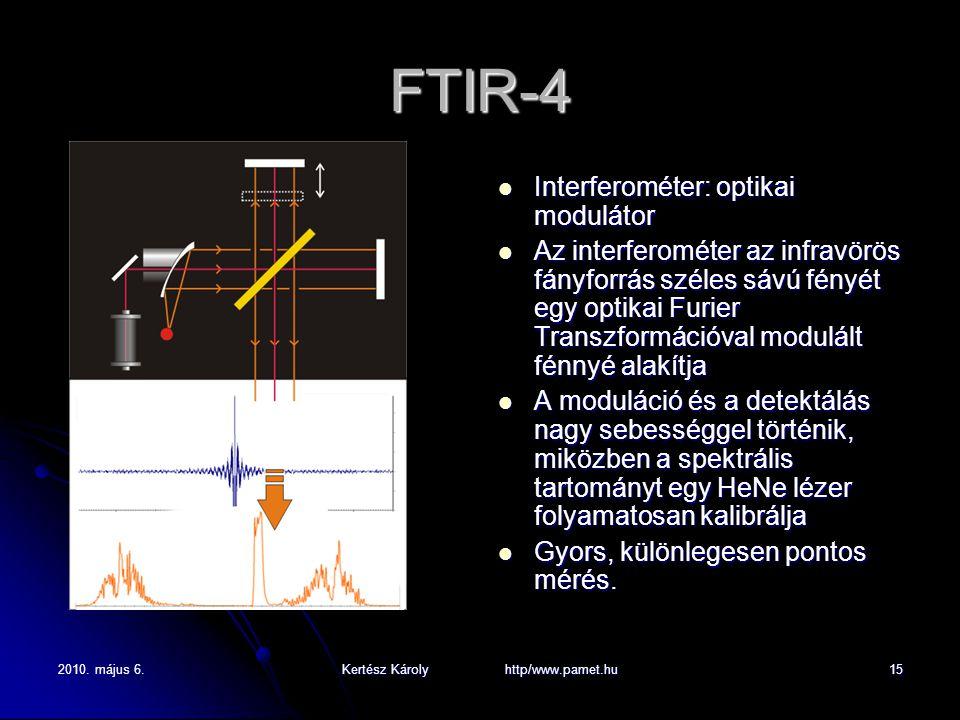 2010. május 6.Kertész Károly http/www.pamet.hu15 FTIR-4 Interferométer: optikai modulátor Interferométer: optikai modulátor Az interferométer az infra
