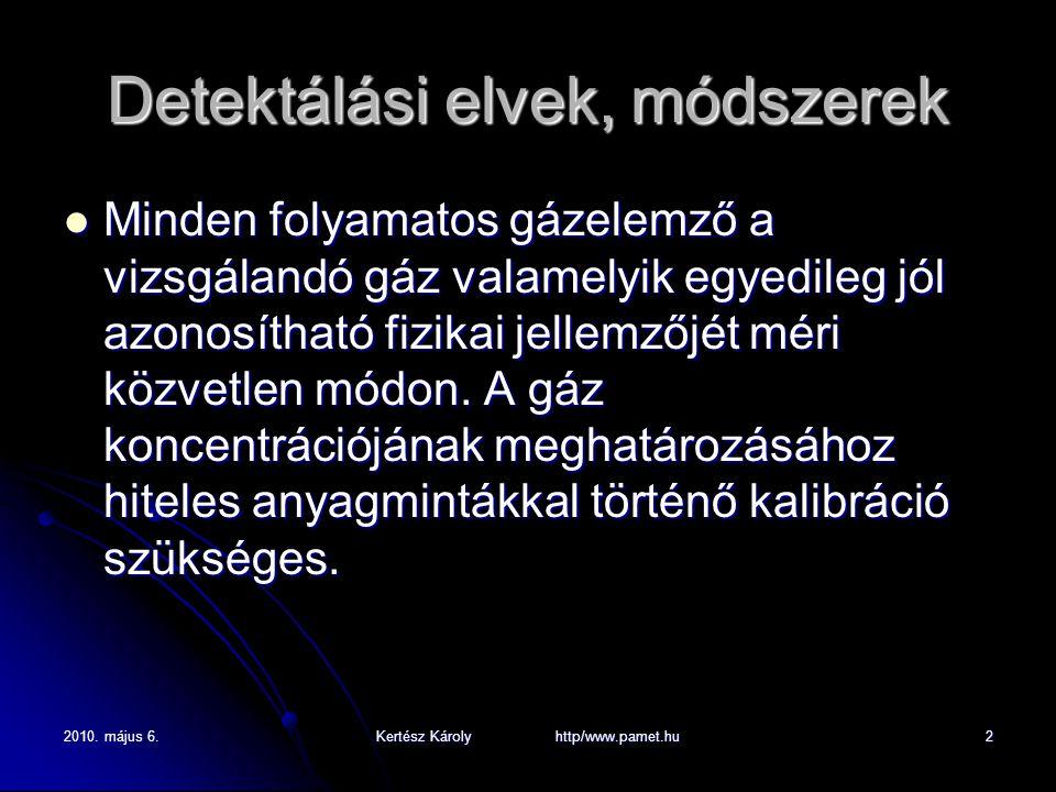 2010. május 6.Kertész Károly http/www.pamet.hu2 Detektálási elvek, módszerek Minden folyamatos gázelemző a vizsgálandó gáz valamelyik egyedileg jól az