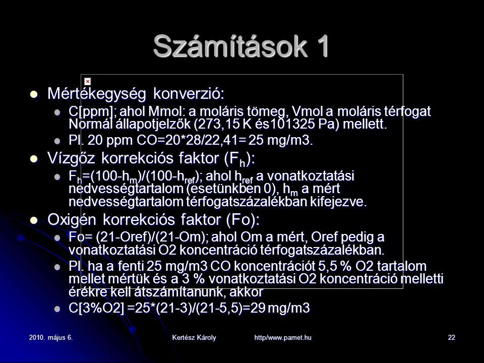 2010. május 6.Kertész Károly http/www.pamet.hu22 Számítások 1 Mértékegység konverzió: Mértékegység konverzió: C[ppm]; ahol Mmol: a moláris tömeg, Vmol