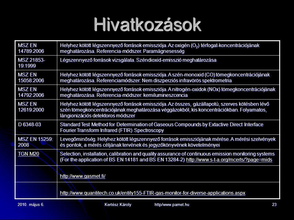 2010. május 6.Kertész Károly http/www.pamet.hu23 Hivatkozások MSZ EN 14789:2006 Helyhez kötött légszennyező források emissziója. Az oxigén (O 2 ) térf