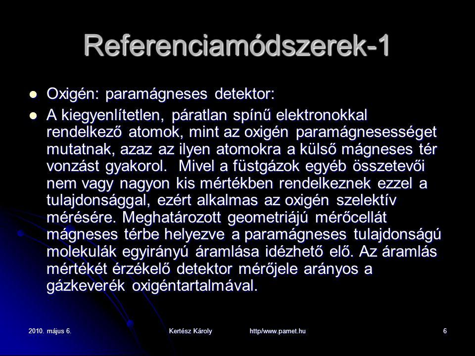 2010. május 6.Kertész Károly http/www.pamet.hu6 Referenciamódszerek-1 Oxigén: paramágneses detektor: Oxigén: paramágneses detektor: A kiegyenlítetlen,