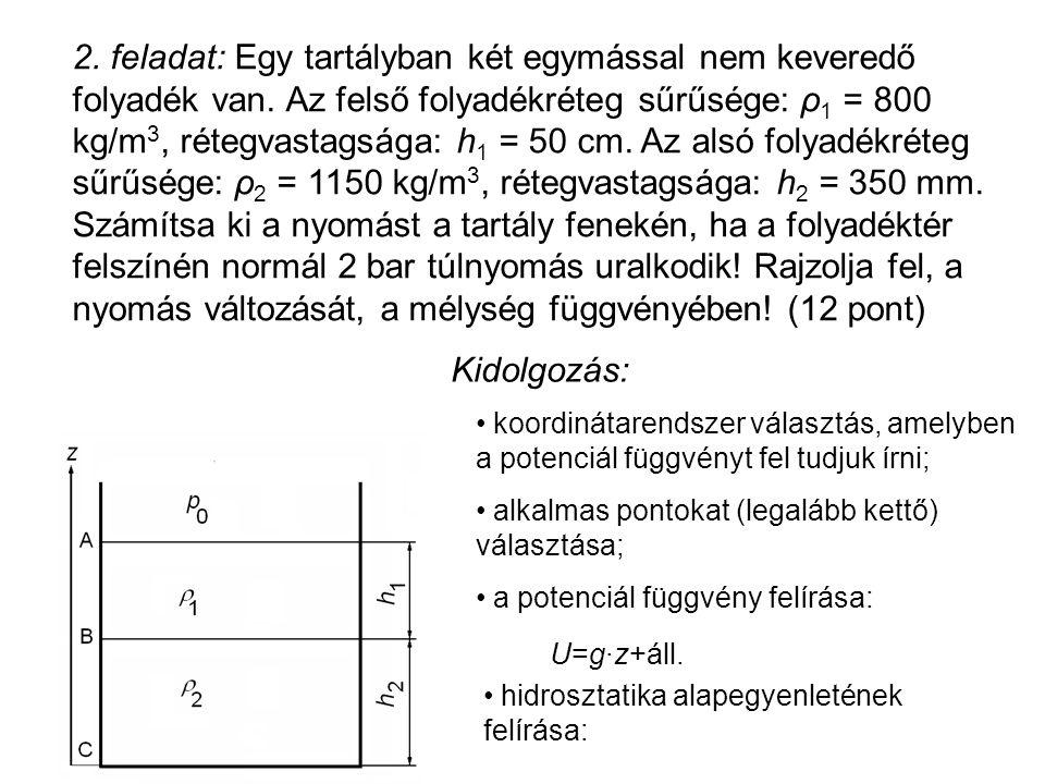 2. feladat: Egy tartályban két egymással nem keveredő folyadék van. Az felső folyadékréteg sűrűsége: ρ 1 = 800 kg/m 3, rétegvastagsága: h 1 = 50 cm. A
