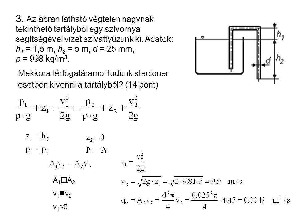 3. Az ábrán látható végtelen nagynak tekinthető tartályból egy szivornya segítségével vizet szivattyúzunk ki. Adatok: h 1 = 1,5 m, h 2 = 5 m, d = 25 m