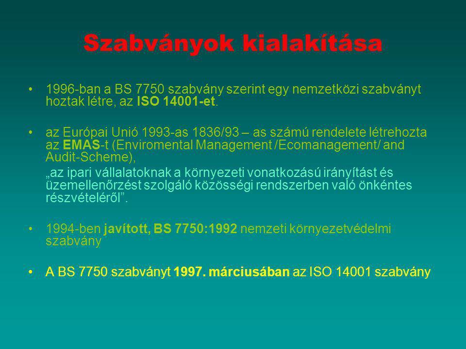 Szabványok kialakítása 1996-ban a BS 7750 szabvány szerint egy nemzetközi szabványt hoztak létre, az ISO 14001-et. az Európai Unió 1993-as 1836/93 – a
