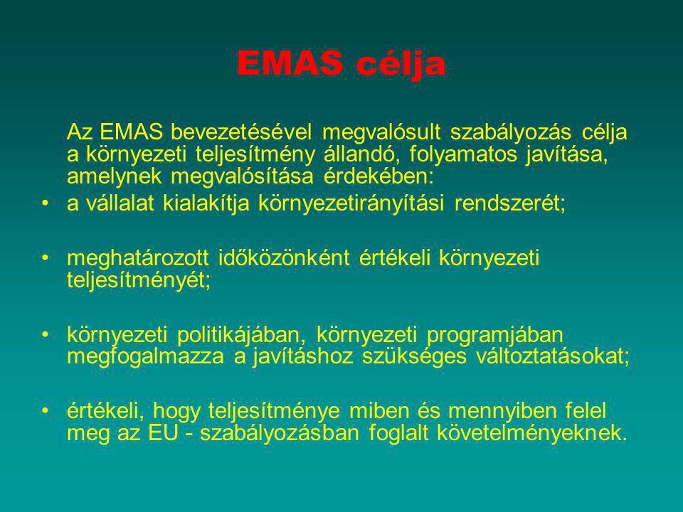 EMAS célja Az EMAS bevezetésével megvalósult szabályozás célja a környezeti teljesítmény állandó, folyamatos javítása, amelynek megvalósítása érdekébe