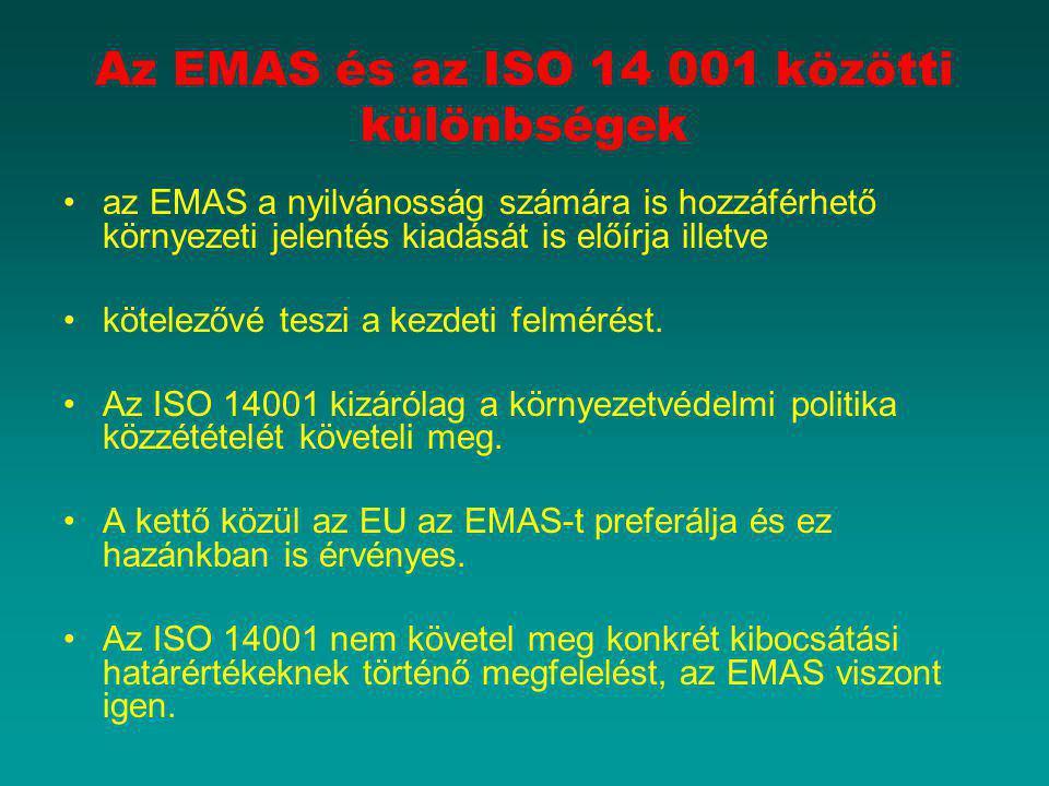 Az EMAS és az ISO 14 001 közötti különbségek az EMAS a nyilvánosság számára is hozzáférhető környezeti jelentés kiadását is előírja illetve kötelezővé