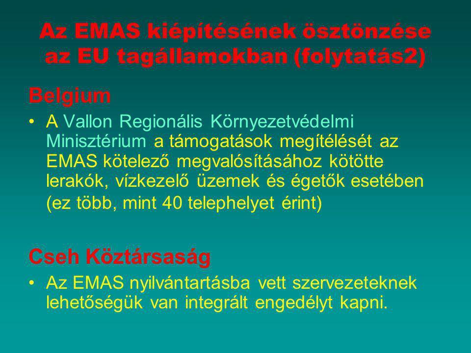 Az EMAS kiépítésének ösztönzése az EU tagállamokban (folytatás2) Belgium A Vallon Regionális Környezetvédelmi Minisztérium a támogatások megítélését a