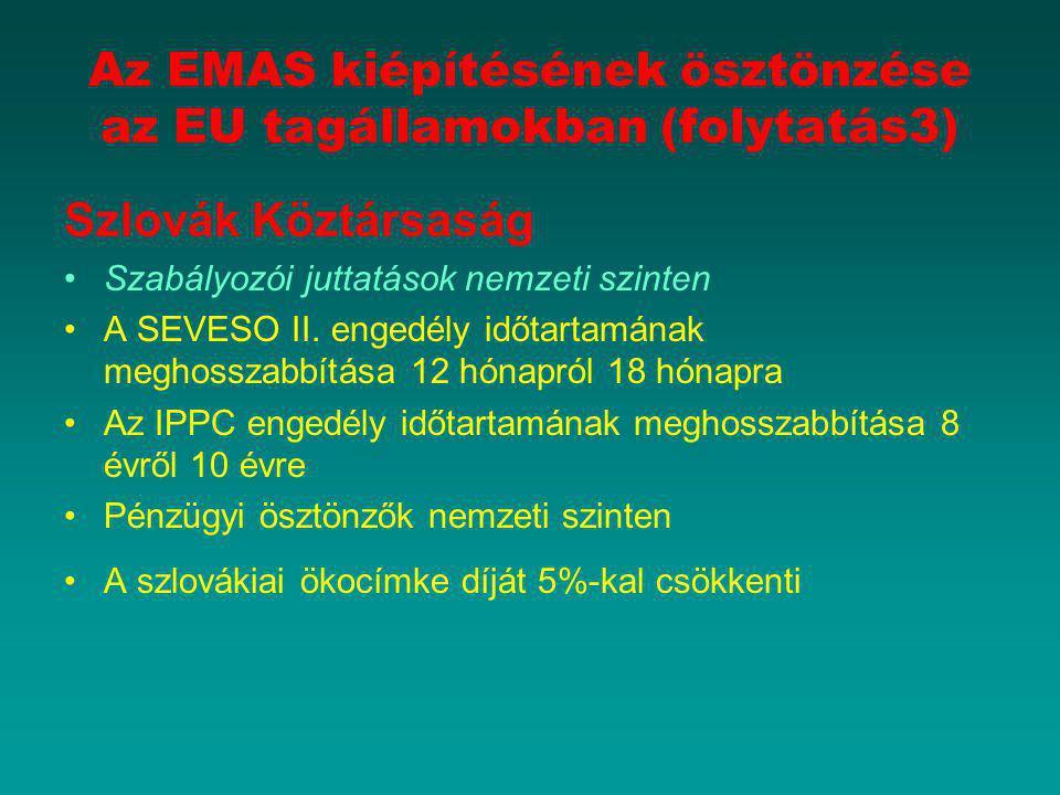 Az EMAS kiépítésének ösztönzése az EU tagállamokban (folytatás3) Szlovák Köztársaság Szabályozói juttatások nemzeti szinten A SEVESO II. engedély időt