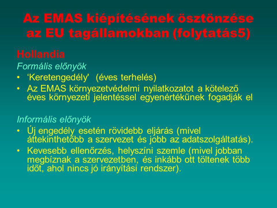 Az EMAS kiépítésének ösztönzése az EU tagállamokban (folytatás5) Hollandia Formális előnyök 'Keretengedély' (éves terhelés) Az EMAS környezetvédelmi n