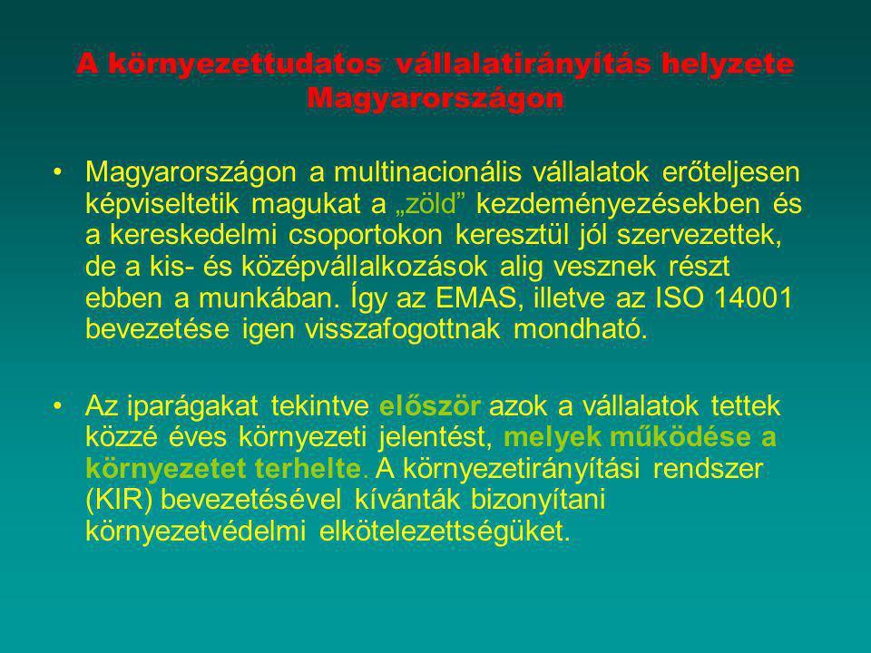 """A környezettudatos vállalatirányítás helyzete Magyarországon Magyarországon a multinacionális vállalatok erőteljesen képviseltetik magukat a """"zöld"""" ke"""