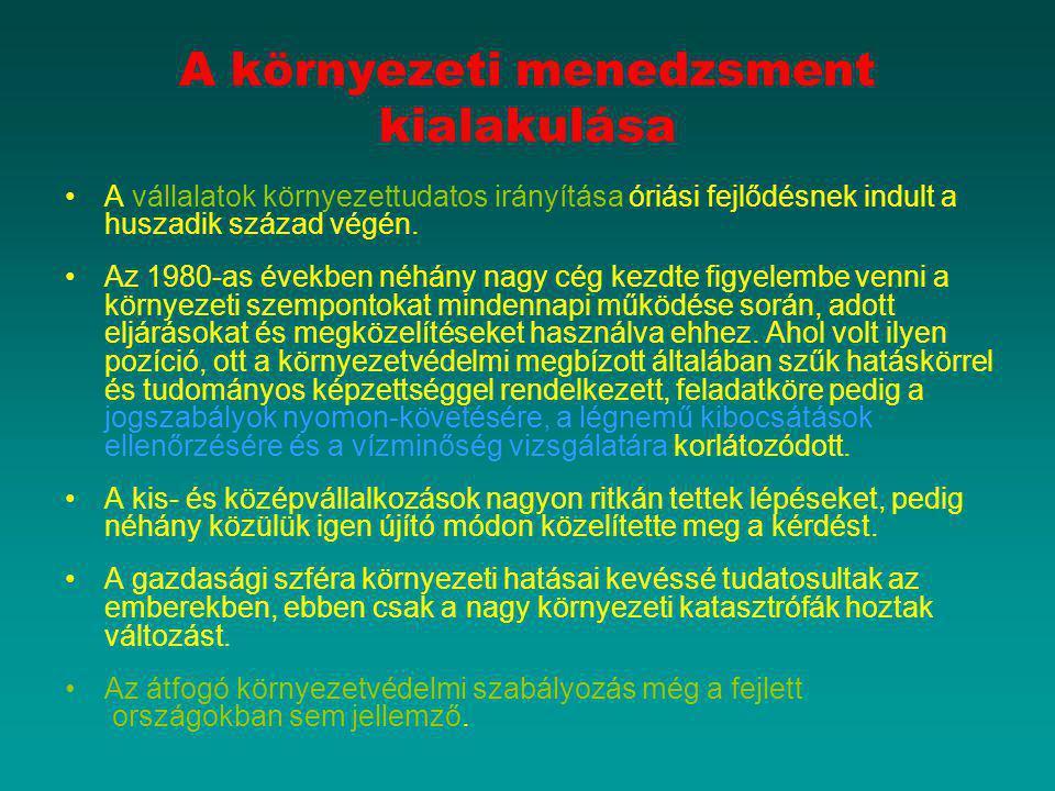 A környezettudatos vállalatirányítás helyzete Magyarországon Magyarország 1998-ban 209 Mrd forintot fordított környezetvédelemre, amely összeg 2001-re 432 Mrd Ft-ra nőtt, és 2005-re elérte a 786 Mrd forint értéket.