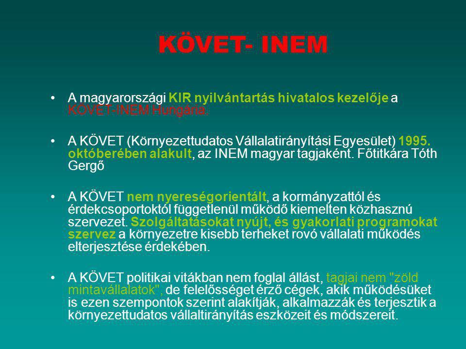 KÖVET- INEM A magyarországi KIR nyilvántartás hivatalos kezelője a KÖVET-INEM Hungária. A KÖVET (Környezettudatos Vállalatirányítási Egyesület) 1995.