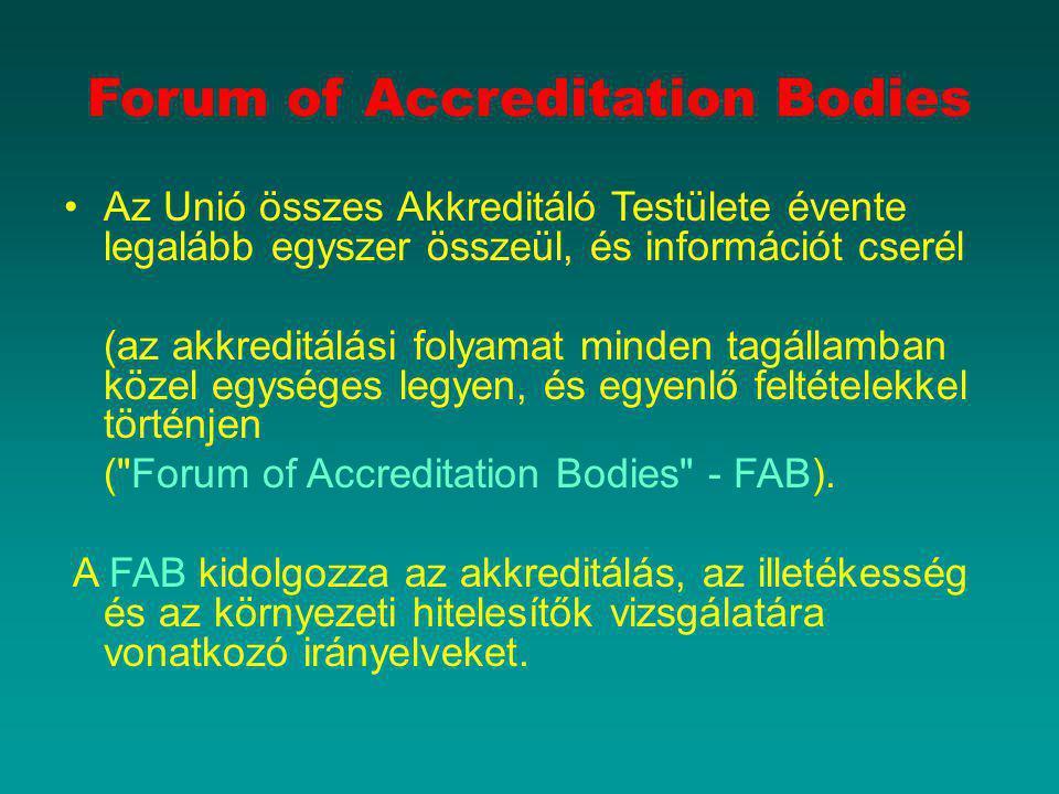 Forum of Accreditation Bodies Az Unió összes Akkreditáló Testülete évente legalább egyszer összeül, és információt cserél (az akkreditálási folyamat m