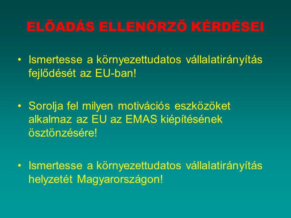 ELŐADÁS ELLENÖRZŐ KÉRDÉSEI Ismertesse a környezettudatos vállalatirányítás fejlődését az EU-ban! Sorolja fel milyen motivációs eszközöket alkalmaz az