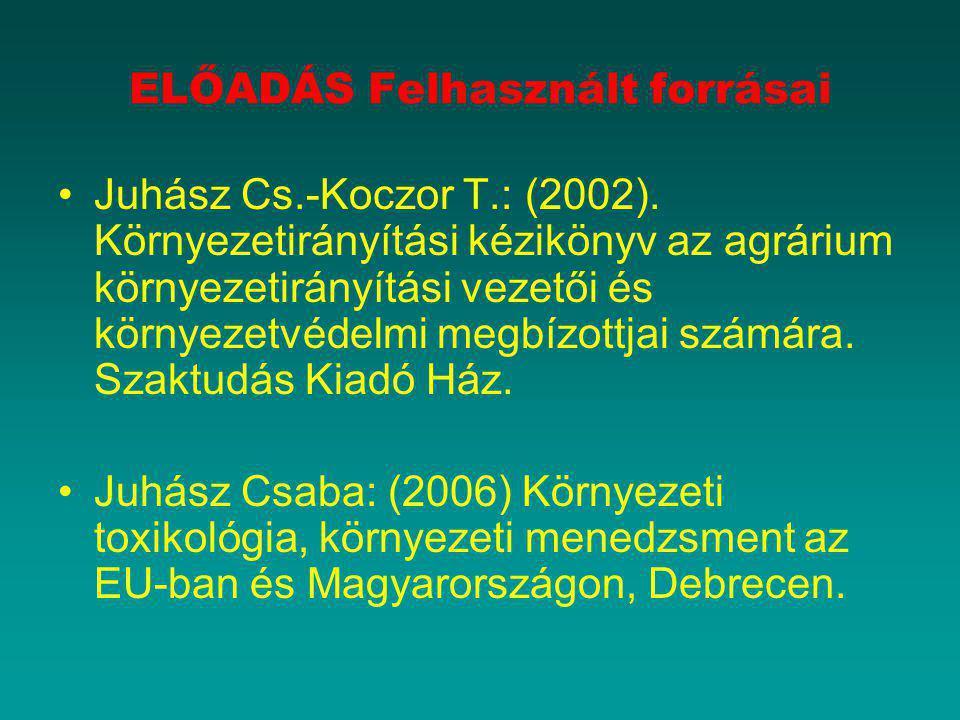 ELŐADÁS Felhasznált forrásai Juhász Cs.-Koczor T.: (2002). Környezetirányítási kézikönyv az agrárium környezetirányítási vezetői és környezetvédelmi m