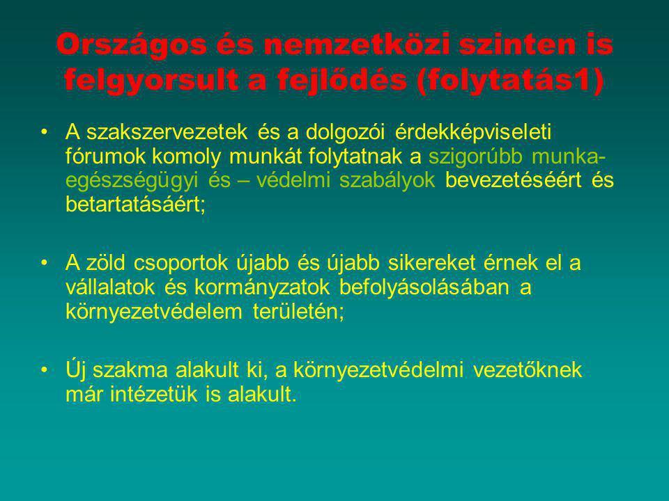 """A környezettudatos vállalatirányítás helyzete Magyarországon Magyarországon a multinacionális vállalatok erőteljesen képviseltetik magukat a """"zöld kezdeményezésekben és a kereskedelmi csoportokon keresztül jól szervezettek, de a kis- és középvállalkozások alig vesznek részt ebben a munkában."""