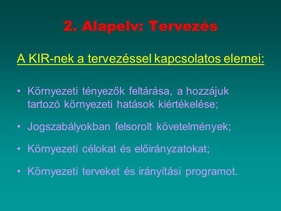 2. Alapelv: Tervezés A KIR-nek a tervezéssel kapcsolatos elemei: Környezeti tényezők feltárása, a hozzájuk tartozó környezeti hatások kiértékelése; Jo