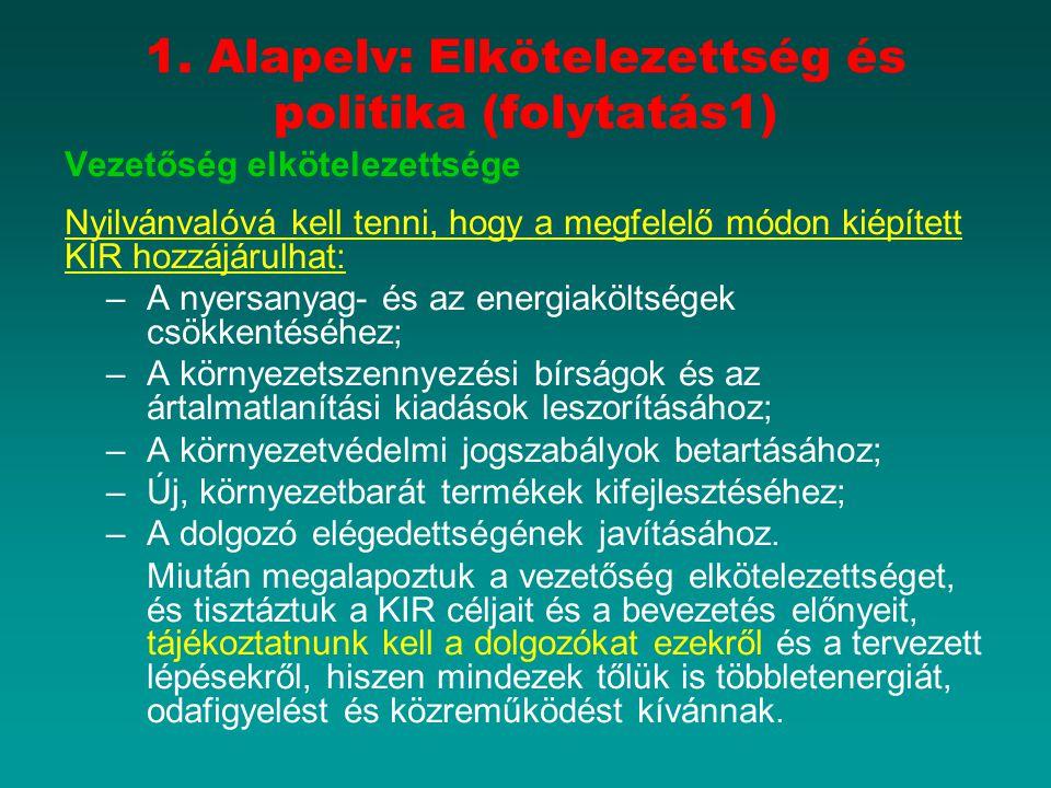 1. Alapelv: Elkötelezettség és politika (folytatás1) Vezetőség elkötelezettsége Nyilvánvalóvá kell tenni, hogy a megfelelő módon kiépített KIR hozzájá