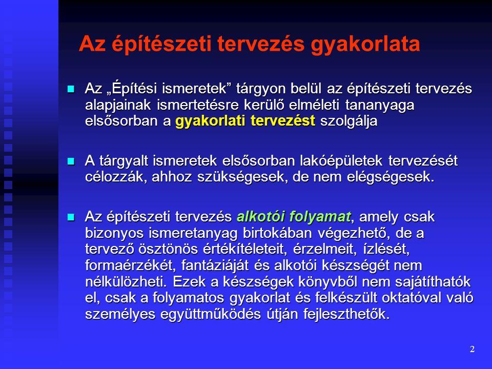 Bevezetés az épülettervezésbe Előadó: Dr. Tiderenczl Gábor Felhasznált irodalom: Dr.