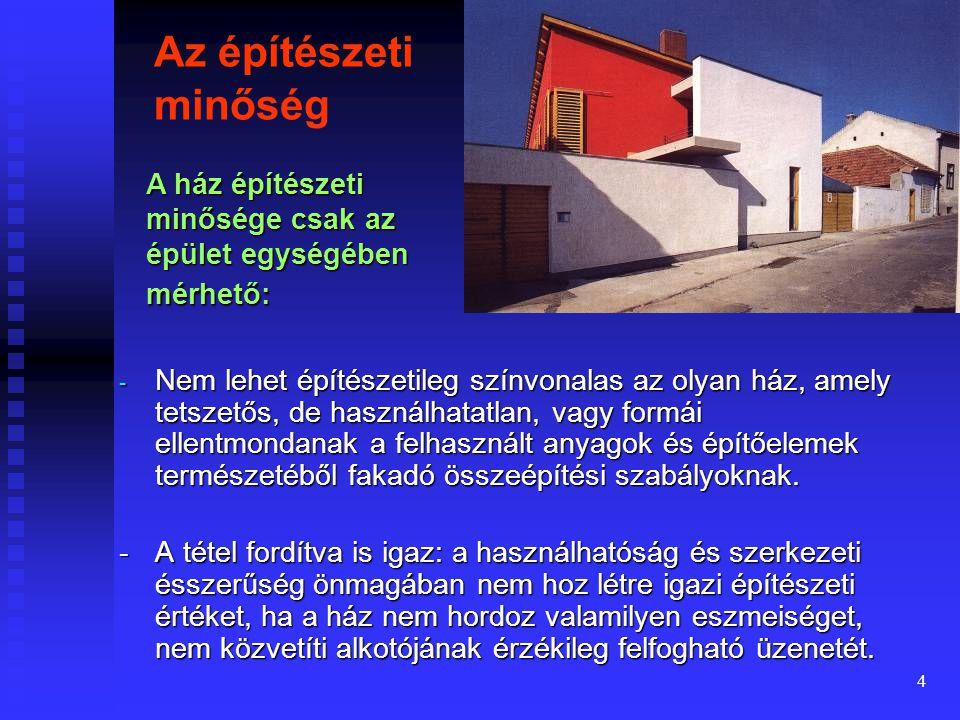 3 Az előadások tárgya Az építészeti tervezéssel foglalkozó előadások központi témája a lakás alapvető funkciójának tervezése, megfelelő használati érték biztosítása.