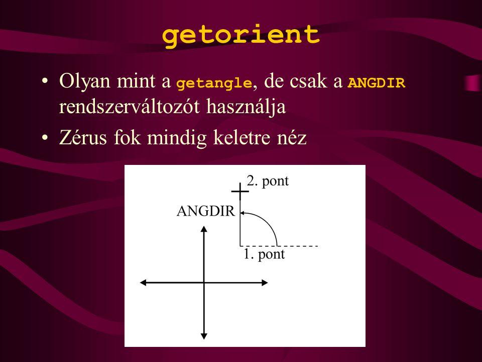 getorient Olyan mint a getangle, de csak a ANGDIR rendszerváltozót használja Zérus fok mindig keletre néz