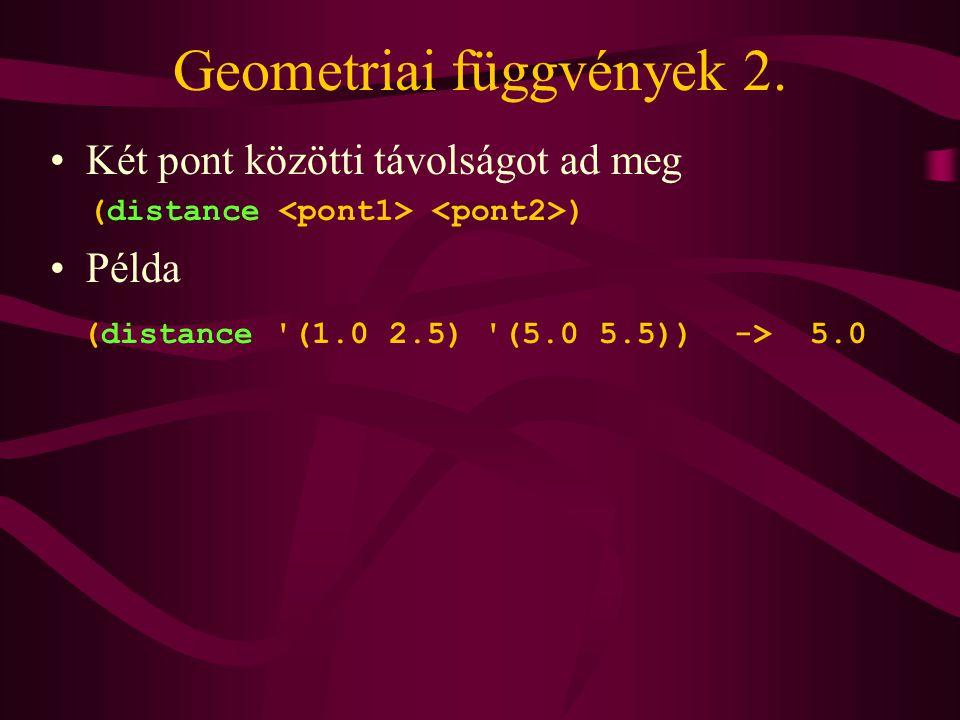 Geometriai függvények 2.