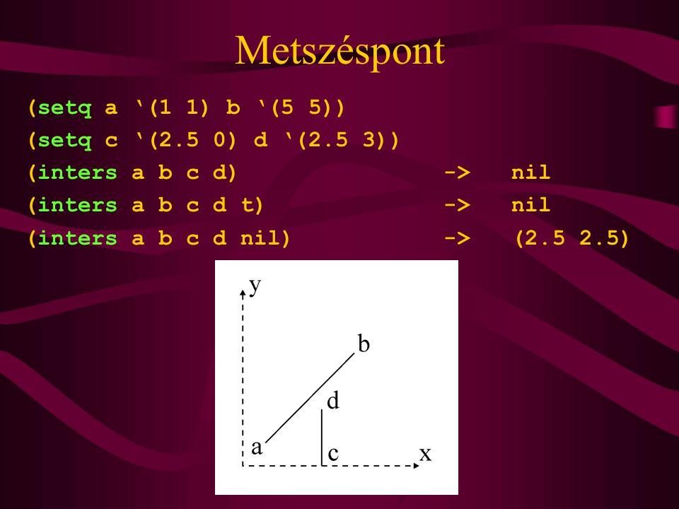 Metszéspont (setq a '(1 1) b '(5 5)) (setq c '(2.5 0) d '(2.5 3)) (inters a b c d) -> nil (inters a b c d t) -> nil (inters a b c d nil) -> (2.5 2.5)