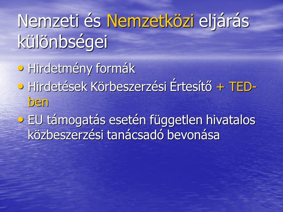 Nemzeti és Nemzetközi eljárás különbségei Hirdetmény formák Hirdetmény formák Hirdetések Körbeszerzési Értesítő + TED- ben Hirdetések Körbeszerzési Értesítő + TED- ben EU támogatás esetén független hivatalos közbeszerzési tanácsadó bevonása EU támogatás esetén független hivatalos közbeszerzési tanácsadó bevonása