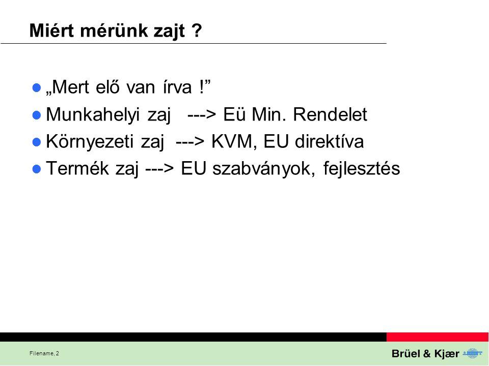 """Filename, 2 Miért mérünk zajt ? """"Mert elő van írva !"""" Munkahelyi zaj ---> Eü Min. Rendelet Környezeti zaj ---> KVM, EU direktíva Termék zaj ---> EU sz"""