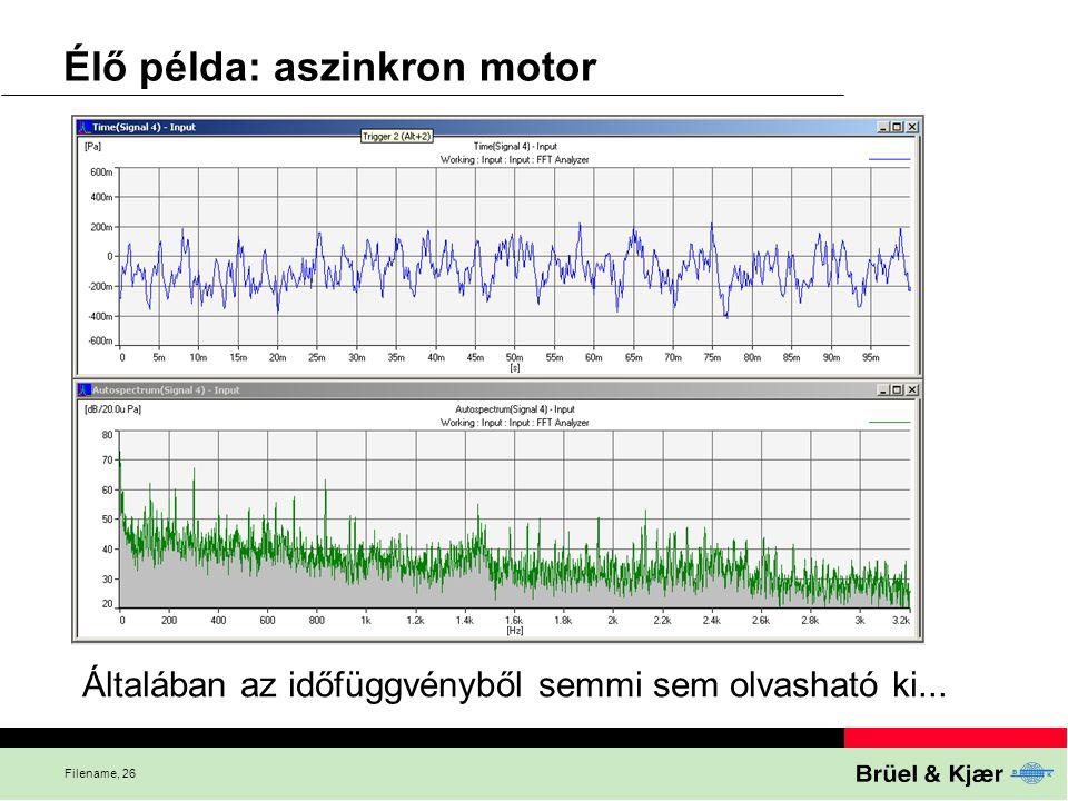 Filename, 26 Élő példa: aszinkron motor Általában az időfüggvényből semmi sem olvasható ki...