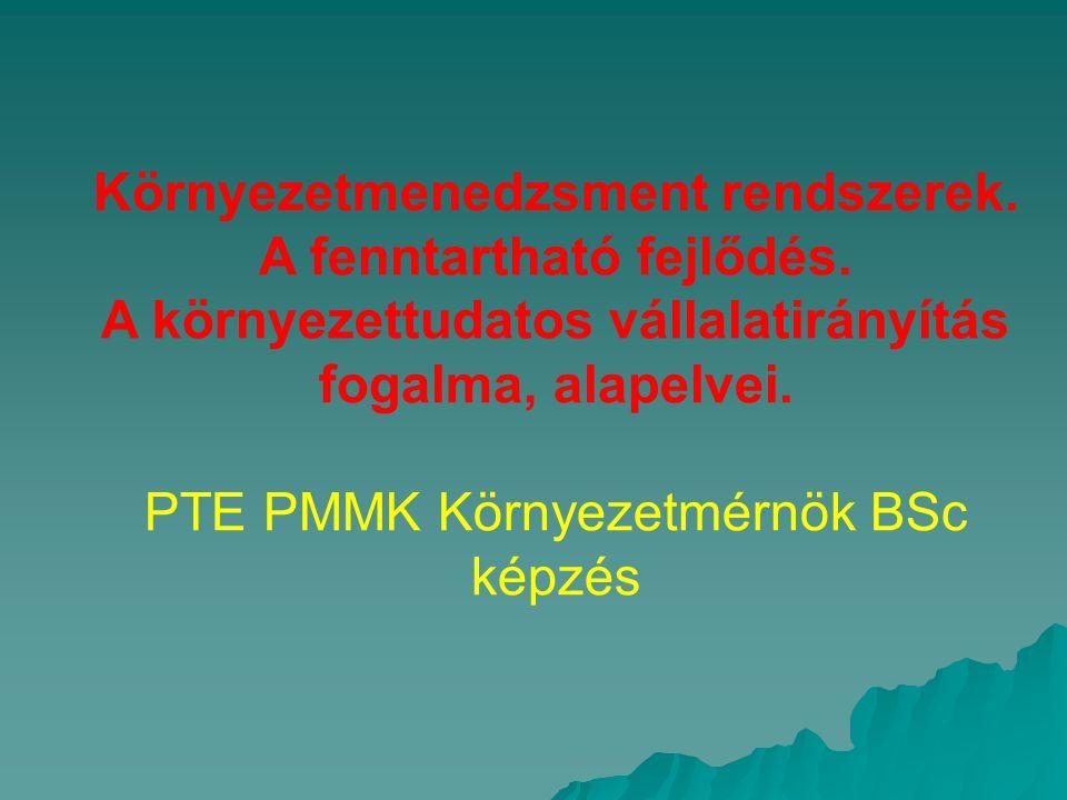 Környezetmenedzsment rendszerek. A fenntartható fejlődés. A környezettudatos vállalatirányítás fogalma, alapelvei. PTE PMMK Környezetmérnök BSc képzés