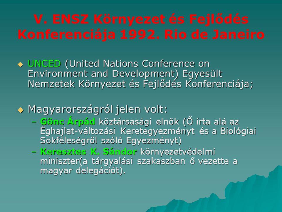V. ENSZ Környezet és Fejlődés Konferenciája 1992. Rio de Janeiro  UNCED (United Nations Conference on Environment and Development) Egyesült Nemzetek