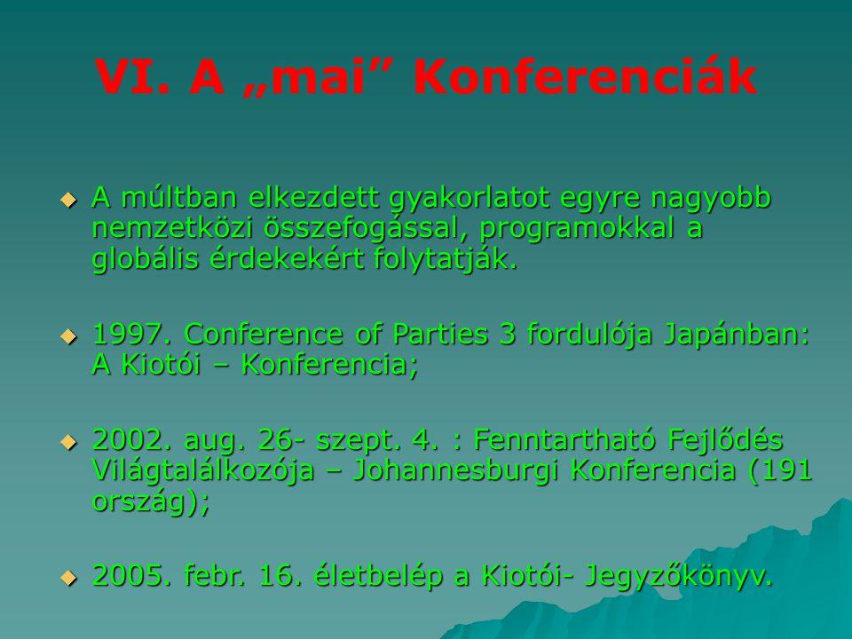 """VI. A """"mai"""" Konferenciák  A múltban elkezdett gyakorlatot egyre nagyobb nemzetközi összefogással, programokkal a globális érdekekért folytatják.  19"""