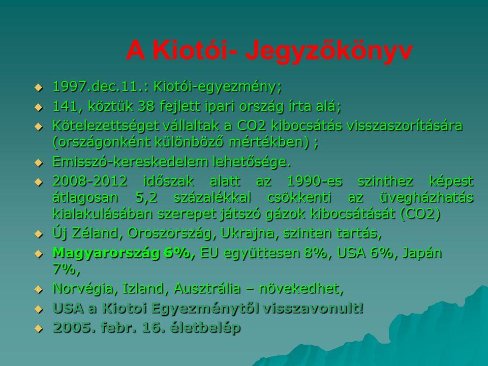 A Kiotói- Jegyzőkönyv  1997.dec.11.: Kiotói-egyezmény;  141, köztük 38 fejlett ipari ország írta alá;  Kötelezettséget vállaltak a CO2 kibocsátás v