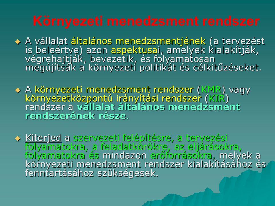 Környezeti menedzsment rendszer  A vállalat általános menedzsmentjének (a tervezést is beleértve) azon aspektusai, amelyek kialakítják, végrehajtják,