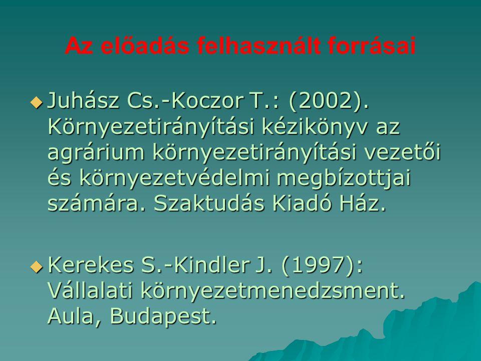 Az előadás felhasznált forrásai  Juhász Cs.-Koczor T.: (2002). Környezetirányítási kézikönyv az agrárium környezetirányítási vezetői és környezetvéde