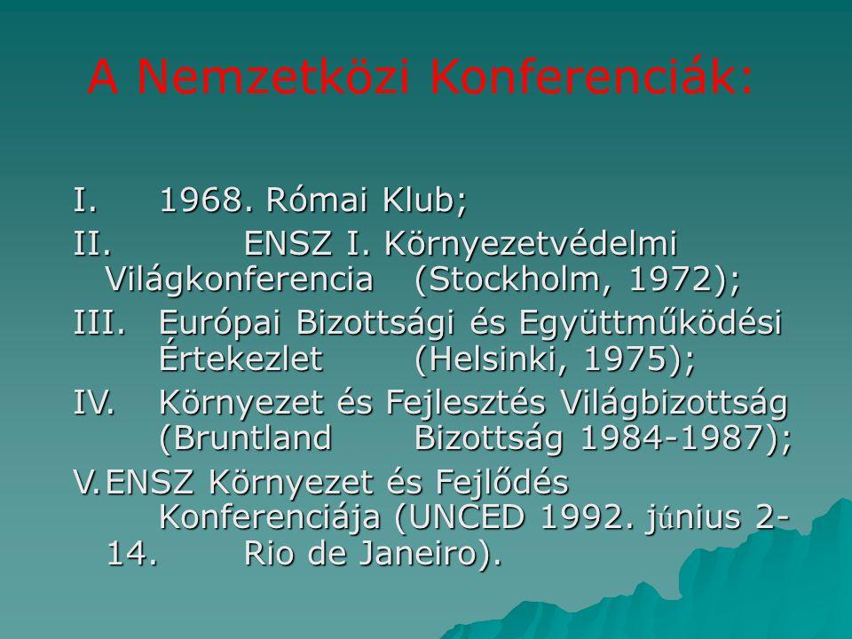 A Nemzetközi Konferenciák: I.1968. Római Klub; II.ENSZ I. Környezetvédelmi Világkonferencia (Stockholm, 1972); III.Európai Bizottsági és Együttműködés