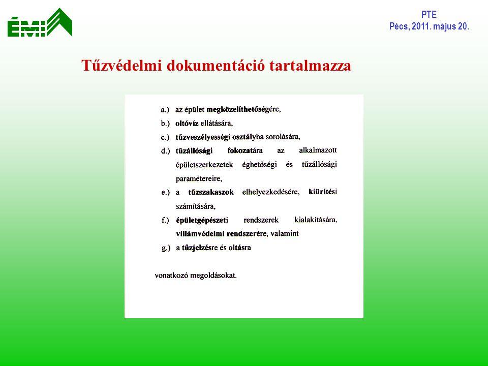 PTE Pécs, 2011. május 20. Tűzvédelmi dokumentáció tartalmazza