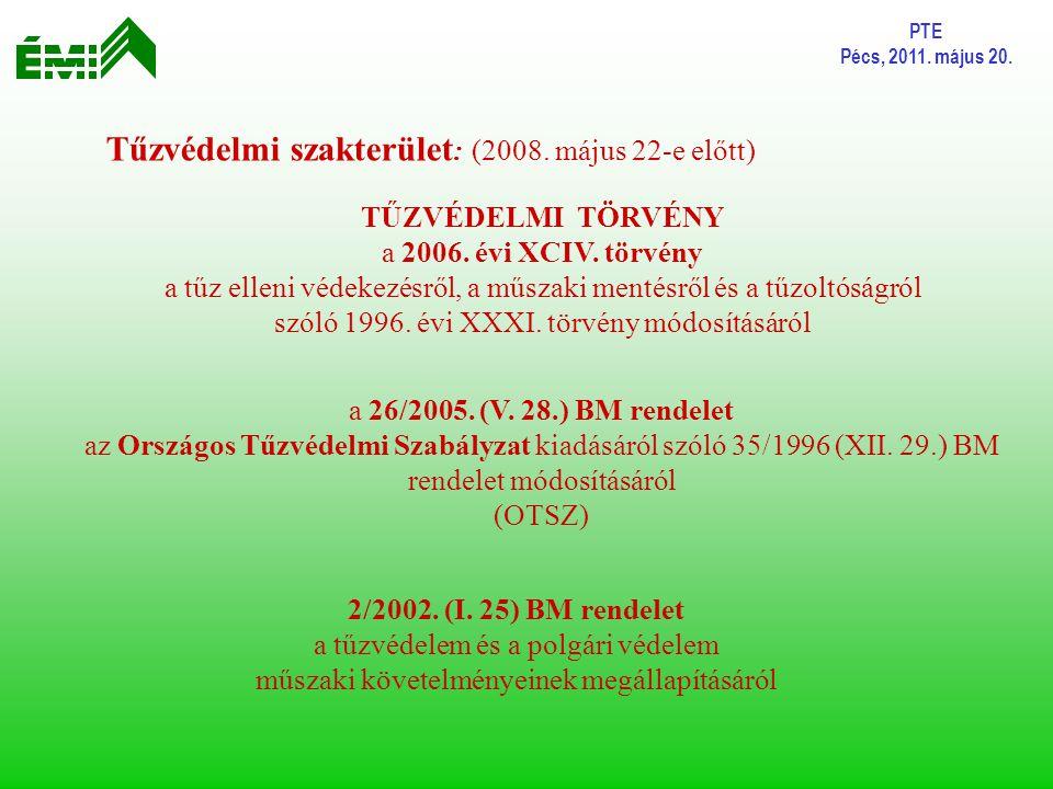 PTE Pécs, 2011. május 20. a 26/2005. (V. 28.) BM rendelet az Országos Tűzvédelmi Szabályzat kiadásáról szóló 35/1996 (XII. 29.) BM rendelet módosításá