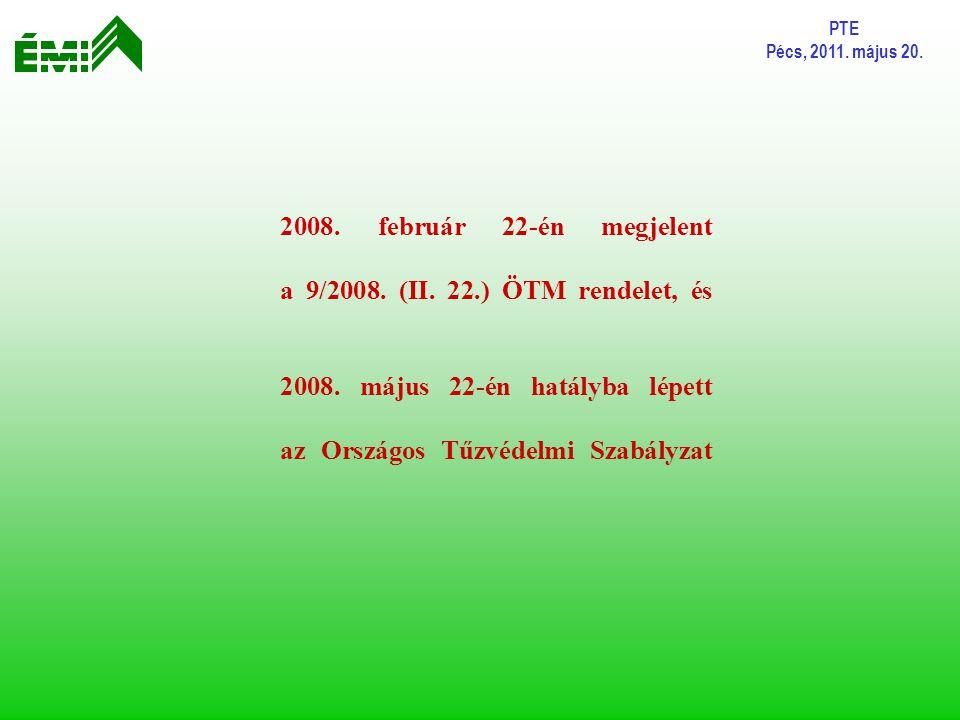 PTE Pécs, 2011. május 20. 2008. február 22-én megjelent a 9/2008. (II. 22.) ÖTM rendelet, és 2008. május 22-én hatályba lépett az Országos Tűzvédelmi