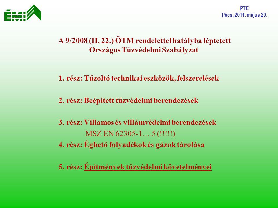 PTE Pécs, 2011. május 20. 1. rész: Tűzoltó technikai eszközök, felszerelések 2. rész: Beépített tűzvédelmi berendezések 3. rész: Villamos és villámvéd