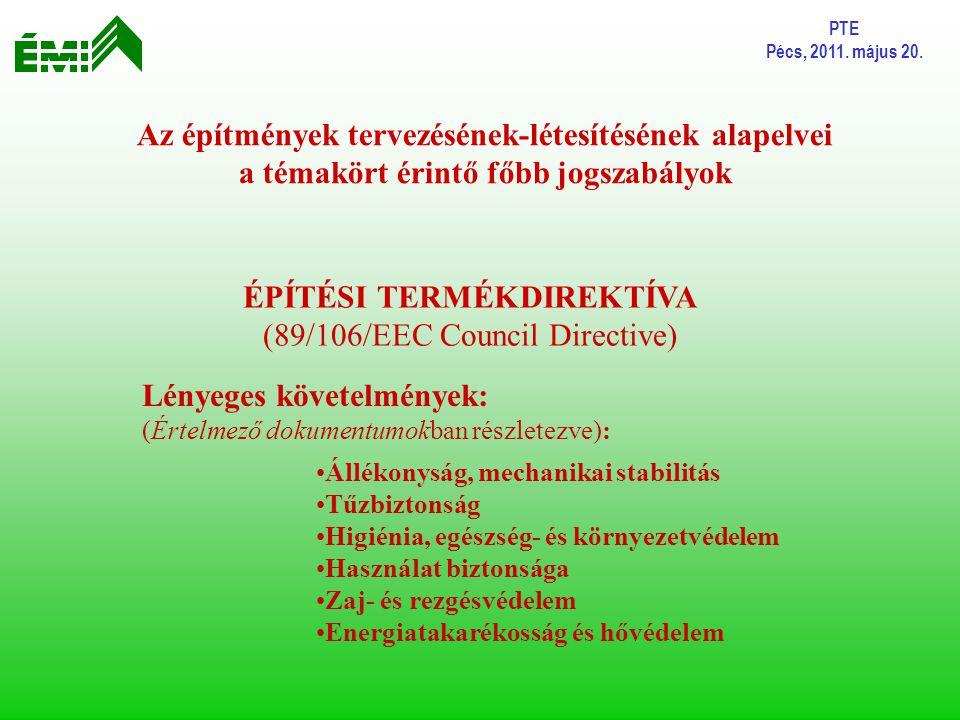 PTE Pécs, 2011. május 20. Az építmények tervezésének-létesítésének alapelvei a témakört érintő főbb jogszabályok ÉPÍTÉSI TERMÉKDIREKTÍVA (89/106/EEC C