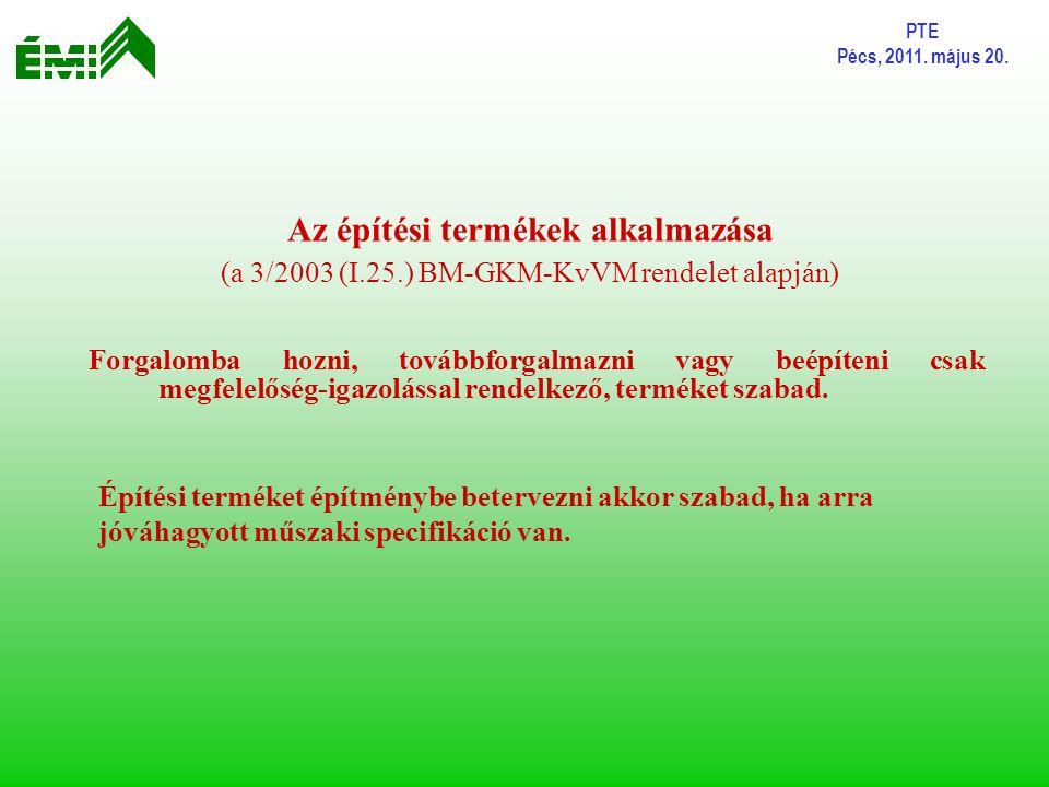PTE Pécs, 2011. május 20. Az építési termékek alkalmazása (a 3/2003 (I.25.) BM-GKM-KvVM rendelet alapján) Forgalomba hozni, továbbforgalmazni vagy beé